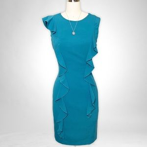 Calvin Klein Teal Blue Green Ruffled Sheath Dress XS 2
